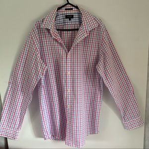 OXFORD Size L Easy Care SLIM FIT White Red Blue Check Preloved